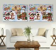 Christmas Gingerbread Cookie Dog Cat Pet Photo Canvas Wall Art Home Decor