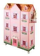 New Paris Mansion 3 Story 47 H Pink Doll House And Dollhouse Furniture On Wheels
