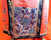 Antique Vintage Chinese Embroidered Skirt Qing Forbidden Stitch Flora Embroidery