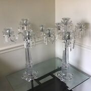 Set Of 2 Lead Crystal Tower Candelabras 26 Tall Candle Holder 5 Arm Centerpiece