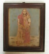 Old Collectible Beautiful Indian Woman Photograph Wooden Frame, Collectible