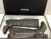 Boots Brown Leather Dual Buckled Knee High Boots Size 37 1/2 Eu With Box