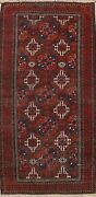 Antique Tribal Geometric Balouch Afghan Area Rug Hand-knotted Kitchen Carpet 4x7