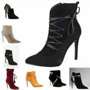 Fashion Womens 10cm High Heel Ankle Boots Smart Work Office Party Sexy Size 4-11