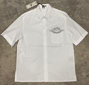 Air Dior Jordaan Wing Basketball White Logo Short Sleeve Button Up Down Shirt 40