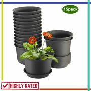 Flower Pots Plastic Planters With Drainage Hole Tray Brown Pack Of 15 By Zoutog