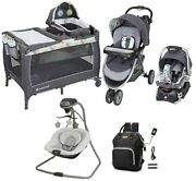 Baby Trend Combo Stroller With Car Seat Playard Swing Bag Infant Travel System