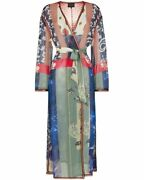 New Etro Blue Multicolor Patchwork Printed Silk Crepe Robe Size 42 Italy 2630