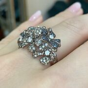 Flower Ring With White Champagne And Black Diamonds In 18k White Gold-hm2144i