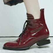 Women Bright Real Cow Leather Ankle Boot Chelsea Low Heel Oxford Punk Goth Shoes