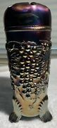 Vintage Northwood Carnival Glass Hatpin Holder Grape And Cable In Purple