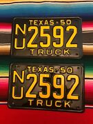 1950 Texas Truck License Plates Nu2592. Restored
