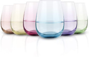 Colored Stemless Wine Glass Set Of 6, Vibrant Splash Wine Glasses With Colored B