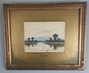 Antique Painting Windmills River Listed Artist Robert Winchester Fraser 1848