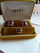 Vintage Swank Purple Cuff Links And Tie Clamp With Box