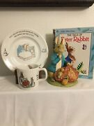 Beatrix Potter Peter Rabbit Bank 1984, Plate 1993and Cup Wedgewood Frederick Warne