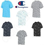 Authentic Champion Menand039s Sportstyle All Over Logo Short Sleeves T-shirt T5747p