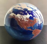 James Lundberg World Paperweight Vintage 1990 Four Inches Earth Globe Glass Art