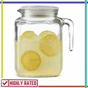 Glass Pitcher With Lid Spout For Cold Water Iced Tea Drinks Bormioli Rocco