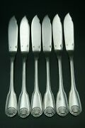Christofle Arcantia Vendome 6 Fish Knives Silver Plated Shell Pattern 8 France
