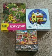 Lot Of 3 Mixed Jigsaw Puzzles, 300 Bits Andpieces, 500 Springbok,750 Master Pieces