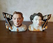 """Royal Doulton Jugs """"queen Elizabeth Ii"""" And King George Vi Ltd Ed Boxes Small D716"""
