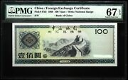 Pmg 67 China 1988 Foreign Exchange Certificate Banknote 100 Yuan Epq