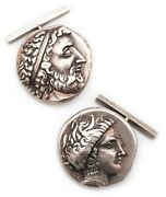 Cufflinks Sterling With Greek Stater Coins 340 Bc From Cnosos And Lokris Opuntii