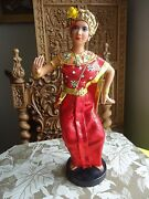 Vintage Thai Siam Asian Dancing Dancer Clothed Doll Gold Crown Doll 16