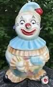 Vintage American Bisque Cookie Jar Clown W/ Exposed Red Toe Blue White Stripes