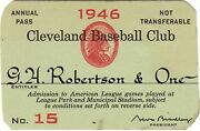1946 Ticket Pass Indians/ted Williams Mvp/in Park Hr Wins Pennant/feller Ll Wins