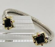 David Yurman Double Cable Sterling Silver 18ky Quatrefoil Onyx And Ruby Bracelet
