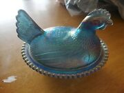 Iridescent Blue Hen On Nest/carnival Glass/covered Candy Dish/indiana Glass Co.