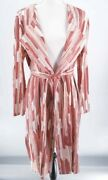 Chicos Travelers Women Trench Jacket Pink Abstract Pleated Belted 3 Xl 16/18 New