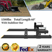 1500lbs 60 Tractor Forks Clamp For Skid Steer Loader Bucket W/ Stabilizer Bar