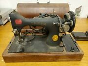 Vintage Singer Ss Au52-16-1 Portable Sewing Machine With Wooden Case For Parts