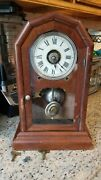 Antique Usa Seth Thomas Bell Strikes Wall And Stand Alarm Clock With Pendulum 1887