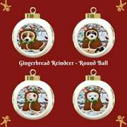 Gingerbread Reindeer Dog Cat Pet Photo Round Ball Christmas Tree Ornament