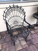 Old Antique Vintage Wrought Iron Metal Fan Peacock Small Childs Chair Black
