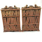 Pair Vintage 70s Syroco Wood Metal Composite Bookshelf Library Books Bookends