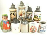 Collection Of 9 Antique German Ceramic Pewter Mounted Beer Steins