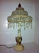 Fabulous Vintage Marble Alabaster Crystal Table Lamp