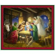 Born Is The King Christmas Nativity Gold Metallic Quilt Fabric Panel