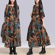 Ladies Florals Ethnic Long Dress Round Collar Long Sleeves Loose Casual Retro
