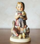 """Retired Hummel """"feeding Time"""" Old Style 199/0 Tkm 4 Figurine -mint Condition"""