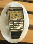 Casio Dbc-32 Calculator Watch Databank Vintage Golden Color With Manual Dbc 32