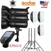 Godox 3 Sk400ii 400w Flash Softbox Stand Light Kit + Xpro-s Trigger For Sony Us
