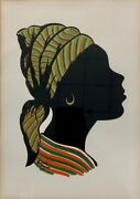 Harold Simmons African Pop Art Hand Screened Silhouette St Lucia 1964 Signed