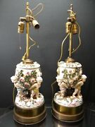 Antique Pair Of Dresden Figural Cherub Floral Oil Electrified Lamps