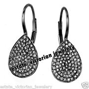Vintage Style 3.02cts Genuine Old Mine Rose Cut Diamond Silver Earring Jewelry